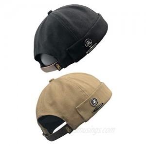 jerague Cotton Brimless Docker Cap Adjustable Street Casual Lovers Visor-Less Sailor Skullcap Beanie Hat