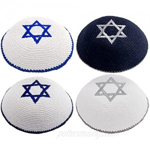 Pack of 4-Pcs - Hq 17cm Mix Colors Hand-Made Knitted Kippah with Star 0f Dav!d Embroidery for Men Boys and Kids Yamaka Hat from Israel - Kippot Bulk. White Blue