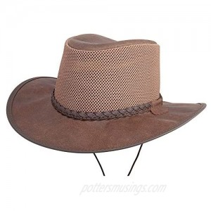 American Hat Makers Breeze Leather and Mesh Outdoor Sun Hat