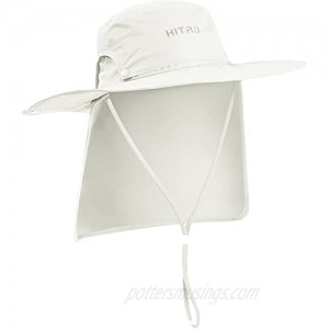 HITRO Sun Fishing Hat UPF50+ Variable Wide Brim Removable Top and Neck Flap