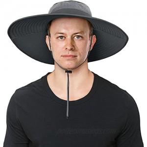 IYEBRAO Mens Super Wide Brim Sun Hat UPF50+ UV Protection Waterproof Large Brim Bucket Hat for Fishing Hiking Camping