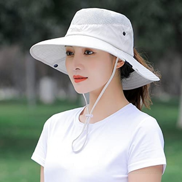 New Women Ponytail Outdoor Sun Protection Fishing Hats Wide Brim Bucket Cap Breathable Packable Hiking (Gray)