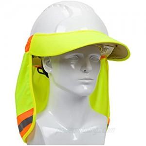 EZ-Cool 396-800-YEL Hi-Vis Hard Hat Neck Sun Shade With Visor Large Yellow
