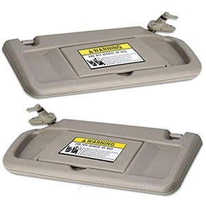 WEILEITE Left Driver Side and Right Passenger Side Sun Visor Compatible with Honda Civic 2006-2011 Replaces 83230-SNA-A01ZE/83280-SNA-A01ZE (Pair Warm Gray)