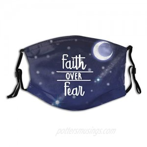 Faith Over Fear Christian Face Mask Washable with 2 Pcs Filters Reusable Bible Verses Scarf With Pocket for Women Men