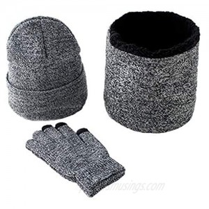 KEESON Winter Knitted Hat Scarf Gloves Three Sets for Men and Women 3 Pieces