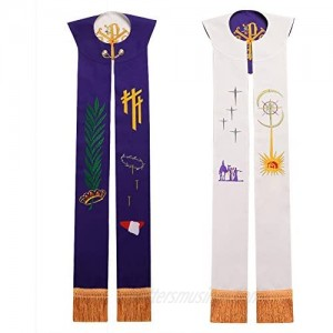 BLESSUME Church Stole priest Chasuble Vestments Reversible Embroidery Stole