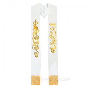 BLESSUME White Chasuble Stole Vestments Holy Lamb Embroidery Stole