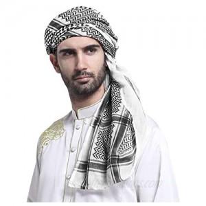 Men Arab Shemagh Headscarf Muslim Dubai Casual Headwear Scarf Neck Wrap Head Cover Turban Cap