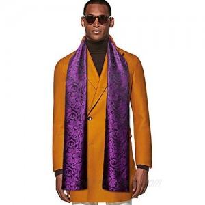 YOHOWA Mens/Womens Lightweight Silk Scarf Fashion Print Paisley Scarves Neckerchief Shawl Autumn Winter 63x20