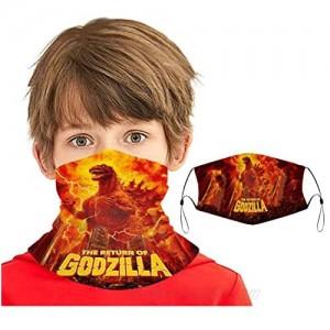 2pcs Godzilla Neck Gaiter Face Cover Kids Boys Girls Breathable Bandana Reusable Scarf Sun Protection Lightweight