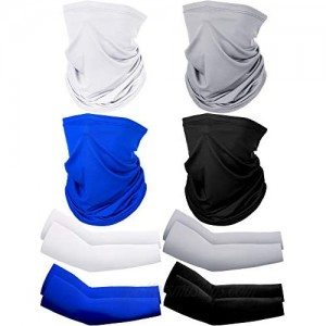 8 Pack Summer UV Protection Face Cover Neck Gaiter Scarf and Ice Silk Cooling Arm Sleeves