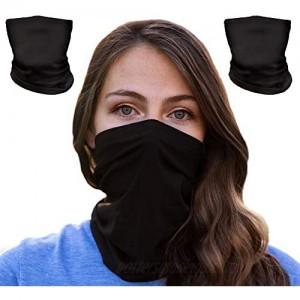 Bamboo Neck Gaiter for Men & Women | Breathable UV Dust Protection | Washable & Reusable | Black