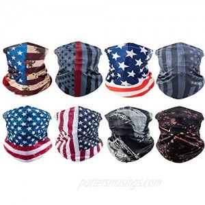 Sun UV Protection American Flag Youth Face Scarf Mask Bandanas Men Women Neck Gaiter Scarf Headwear for Winter Outdoor Sports