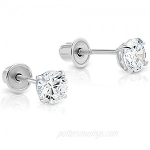 14k White Gold Solitaire Cubic Zirconia CZ Stud Earrings with Secure Screw-backs