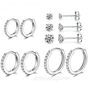 3 Pairs Sterling Silver Small Hoop Earrings Tiny Cartilage Earring Cubic Zirconia Cuff Huggie Earrings Mini Hoops Earrings Piercing for Women Girls