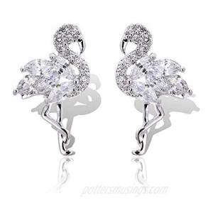 925 Sterling Silver Diamond Stud Earrings The Flamingo Earrings for Women Animal Stud Earrings
