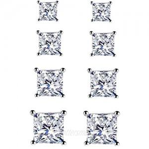 925 Sterling Silver Stud Earrings - 4 Pairs Square Cut Cubic Zirconia Stud Earrings Hypoallergenic Stud Earrings Set for Women Men Girls Gifts 3mm 4mm 5mm 6mm