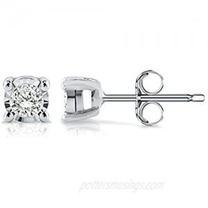 Diamond Wish Sterling Silver Round Diamond Stud Earrings (0.08 cttw  Good  I2-I3) 4-Prong Basket Set  Push-Back Clasps