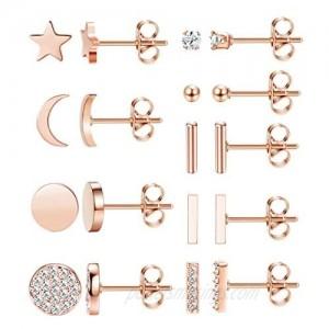 FIBO STEEL 9 Pairs Stainless Steel Star Moon Stud Earrings for Women Cute Bar CZ Stud Earring Set