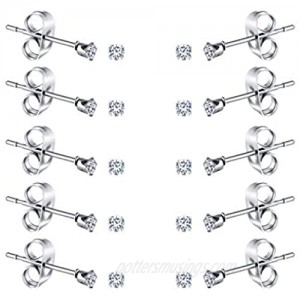 FOSIR 2-4MM Tiny Women's Stainless Steel Round Clear Cubic Zirconia Stud Earrings(6-10 Pairs)