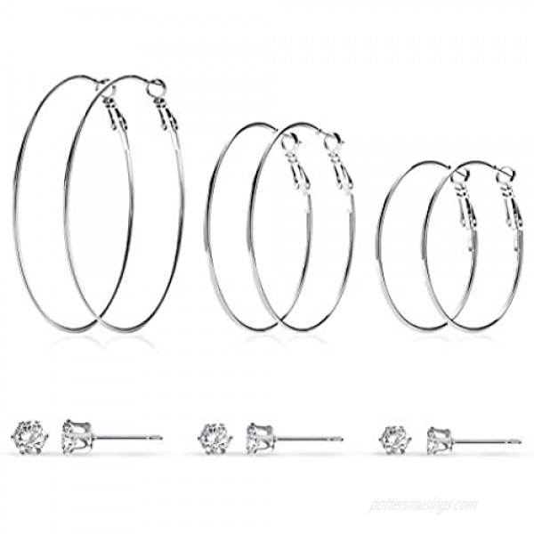 Hoop Stud Earrings Set for Women: 6 Pairs 14K Gold | Rose Gold | White Gold Plated Big Hoops and Cubic Zirconia Stud Earrings Girls Jewelry
