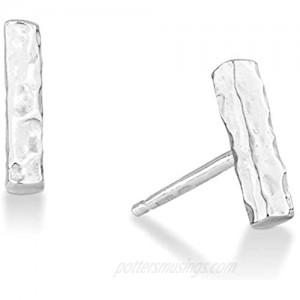 MiaBella 925 Sterling Silver Hammered Minimalist Flat Bar Dainty Stud Earrings for Women Teen Girls Made in Italy