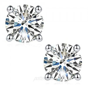 Moissanite Earrings  Lab Created Diamond Earrings with 2 pieces of DEF Color Brilliant Round Cut Moissanite in Sterling Silver with 18K White Gold Plated with Safety Friction Back