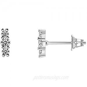 PAVOI 14K Gold Plated 925 Sterling Silver CZ Simulated Diamond Earrings Dainty Geometric Shape - Mini Bar  Halo  Lightning Bolt  Moon Stud Earrings
