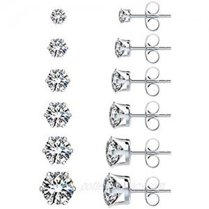 UHIBROS 6 Pairs Stainless Steel Stud Earrings Set Hypoallergenic Cubic Zirconia 18K White Gold 316L CZ Earrings