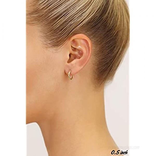 14k Gold Hand Engraved Diamond-cut Round Hoop Earrings (0.5 inch Diameter)
