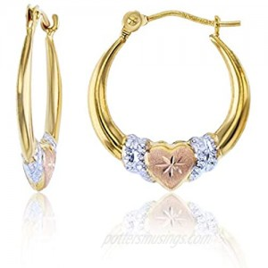 14K Yellow Gold Hearts Hoop Earrings with Hinged Clasp   Heart  Sideways Heart  Shrimp Heart and Triple graduated Heart   Solid Gold Earrings for Women and Girls