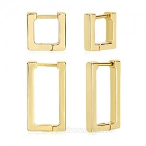 2 Pairs 14K Gold Plated Minimalist Hoop Earrings Small Dainty Geometric Square and Rectangle Huggies Hoops for Girls Women Gift