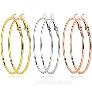 3 Pairs Clip On Earrings Big Hoop Earrings Set Non Piercing Earrings for Women Girls Gold Plated Rose gold Silver Hypoallergenic earrings