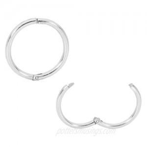 365 Sleepers 2 Pcs Solid Sterling Silver 15/32 (12mm) 18G Hinged Hoop Sleepers Earrings Handmade in Australia