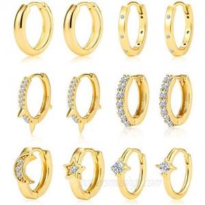 6 Pairs Huggie Hoop Earrings for Women Girls Small Gold Hoops Earrings 14K Real Gold Hypoallergenic Earrings for Gifts