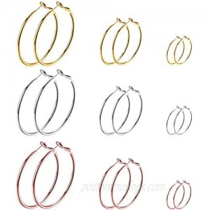 Cocamiky 9 Pairs Big Hoop Earrings Stainless Steel Hoop Earrings 14K Gold Plated Rose Gold Plated Silver for Women Girls