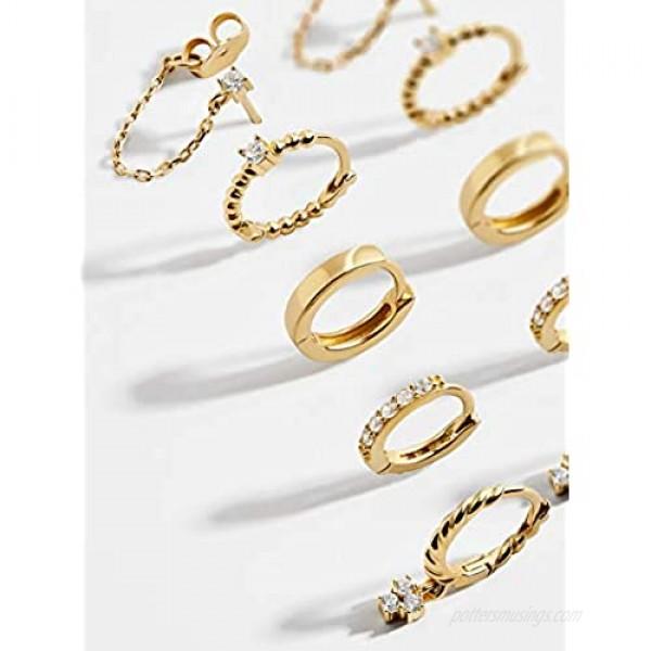 Erpels Gold Huggie Hoop Earring Set Small Hoop Earrings Cubic Zirconia Chain Hoop Earrings for Women Girls