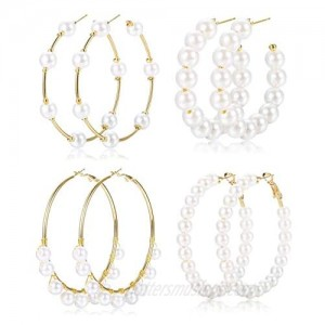 Florideco 4 Pairs 55-77MM Faux Pearl Huge Hoop Earrings for Women Lightweight Open Large Circle Round Beaded Earrings Brides Jewelry