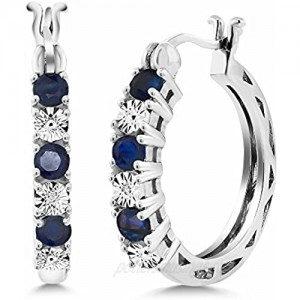 Gem Stone King 925 Sterling Silver Blue Sapphire and White Lab Grown Diamond Accent Women's Hoop Earrings (0.83 Cttw 22MM = 0.85 Inches Diameter)