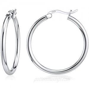 JIAYIQI Sterling Silver Hoop Earrings 18K White Gold Plated Silver Circle Endless Earrings Hoops Jewelry Lightweight Hoop Earring for Women Diameter 14 16 18 20 25 30 40 50 60mm