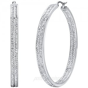 Jstyle Women's Stainless Steel Pierced Large Hoop Earrings with Rhinestone