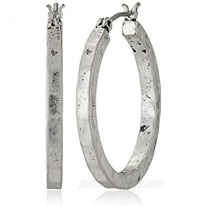 Lucky Brand Silver-Tone Small Hammered Round Hoop Earrings