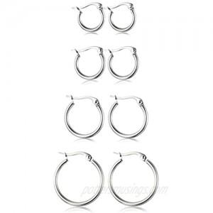 ORAZIO 4 Pairs Stainless Steel Hoop Earrings Set Cute Huggie Earrings for Women 10MM-20MM