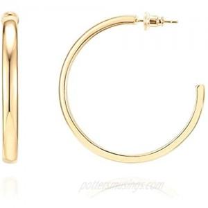 PAVOI 14K Gold Plated Silver Post Wide Flat Edge 40mm Hoop Earrings