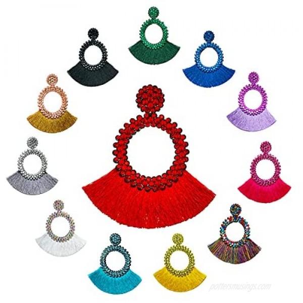 SANIX 6-14 Pairs Tassel Hoop Earrings Bohemia Fan Shape Drop Earrings Dangle Hook Eardrop for Women Girls