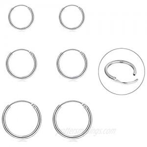 Silver Hoop Earrings- Cartilage Earring Endless Small Hoop Earrings Set for Women Men Girls 3 Pairs of Hypoallergenic 925 Sterling Silver Tragus Earrings Nose Lip Rings (8mm/10mm/12mm)