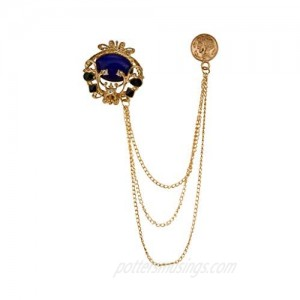 A N KINGPiiN Blue Stone with Abstract Detailing Lapel Pin Badge Gift Party Shirt Collar Costume Pin Accessories for Men Brooch
