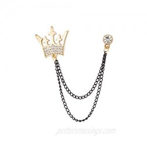 A N KINGPiiN Golden King Crown with Black Chain Lapel Pin Badge Gift Party Shirt Collar Costume Pin Accessories for Men Brooch