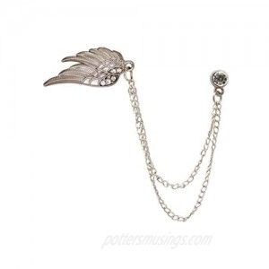 A N KINGPiiN Lapel Pin for Men Angel Wings with Crystal Hanging Chain Brooch Suit Stud Shirt Studs Men's Accessories (Silver)